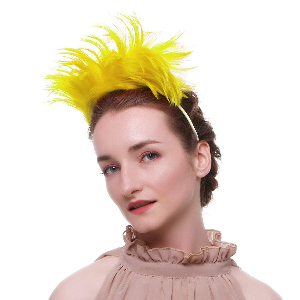 Nicute Festival 1920s Feather Headband Fascinators Headpiece Flapper Hair Accessories for Women and Girls (Yellow)