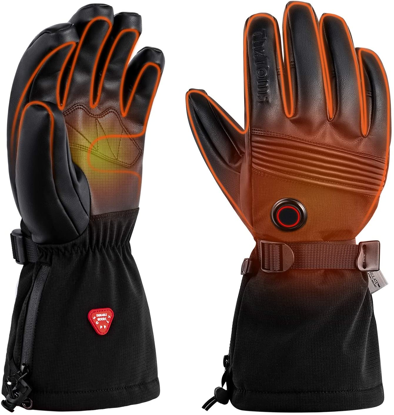 ThxToms Heated Gloves with Rechargeable Battery, Waterproof Breathable Winter Gloves Men & Women, Touchscreen Gloves for Motorcycle, Ski, Hunting, Riding