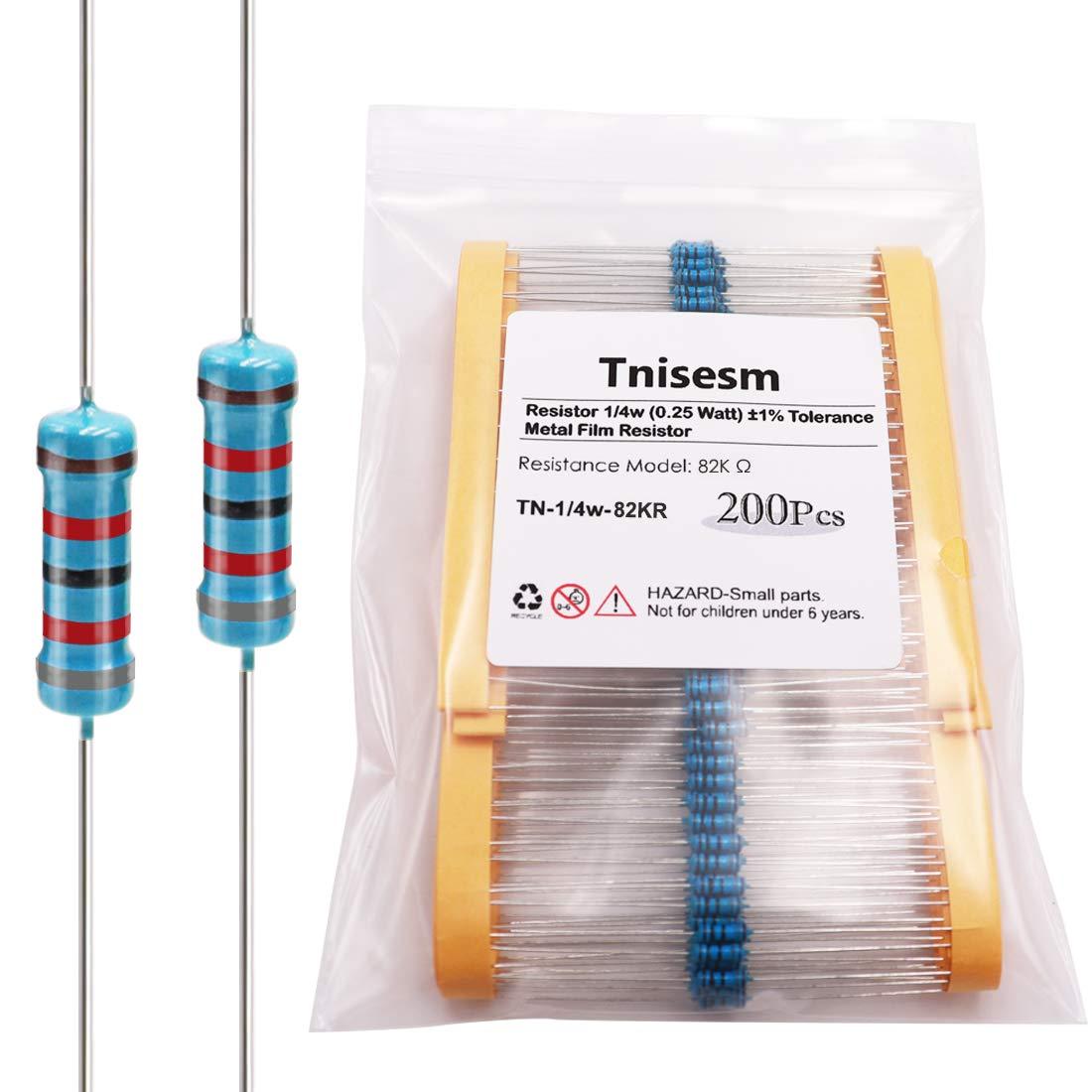 Tnisesm 200Pcs Resistor 82K ohm 1/4W (0.25 Watt) ±1% Tolerance Metal Film Resistor for DIY Projects and Experiments, Multiple Values of Resistance Optional TN-1/4W-82KR
