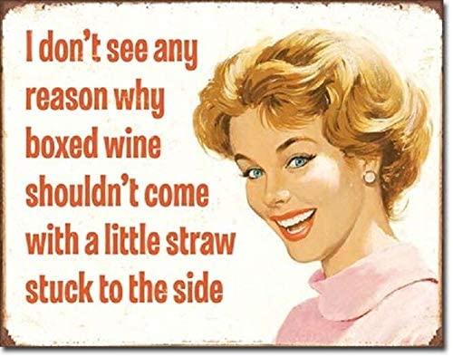 SRongmao Ephemera Boxed Wine Little Straw Funny Humor Bar Wall Decor Metal Tin Sign 8x12in New