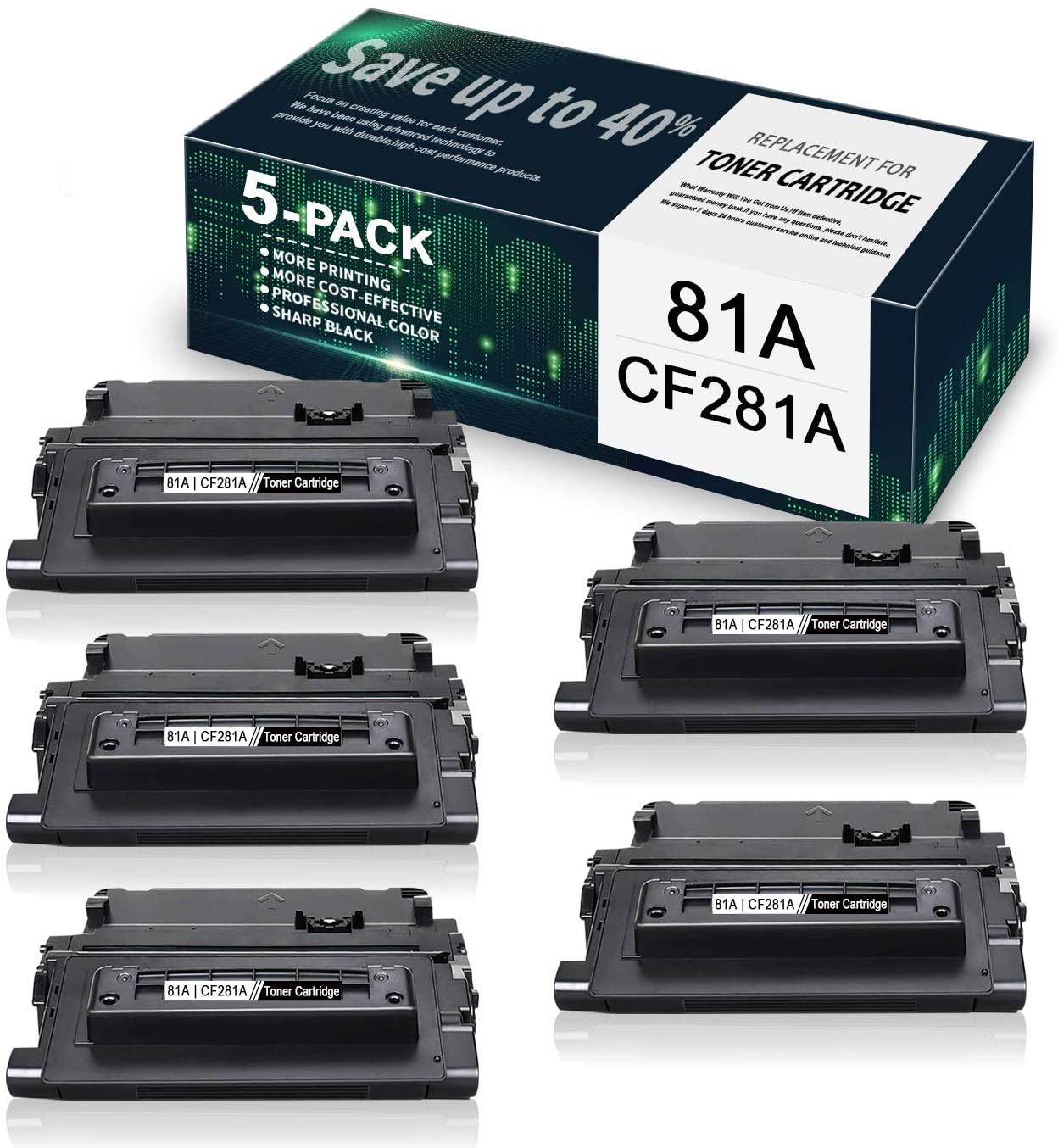 5-Pack Black 81A | CF281A Compatible Toner Cartridge Replacement for HP Laserjet Enterprise M604dn M605dn M604n M605n M606dn M630h M606x MFP M630f M606 M604 M605 M630 M630 Printer, Toner Cartridge.
