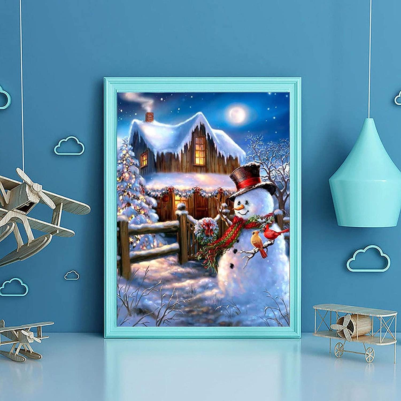 C-Easy 5D Full Drill Snowman Christmas Diamond Painting,DIY Cross Stitch Rhinestone Santa Claus Painting,DIY 5D Diamond Painting Arts Craft Christmas Home Decor (D)