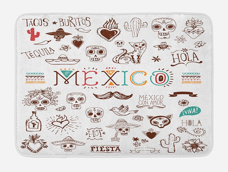 Lunarable Mexican Bath Mat, Mexican Latino Doodles Hipster Mustache Restaurant Cat Heart Viva Fiesta, Plush Bathroom Decor Mat with Non Slip Backing, 29.5