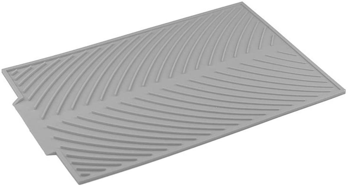 SH-RuiDu Heat-Resistant Kitchen Silicone Dish Draining Mat Pot Holder Placemat Gray