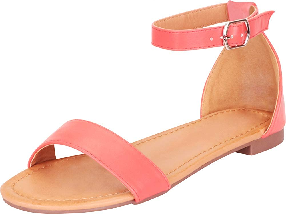 Cambridge Select Women's Classic Open Toe Single Band Ankle Strap Flat Sandal