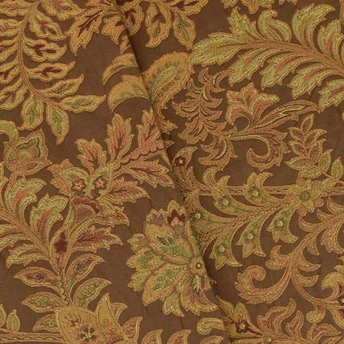 Brown/Copper Leaf Paisley Jacquard Home Decorating Fabric, Fabric by The Yard