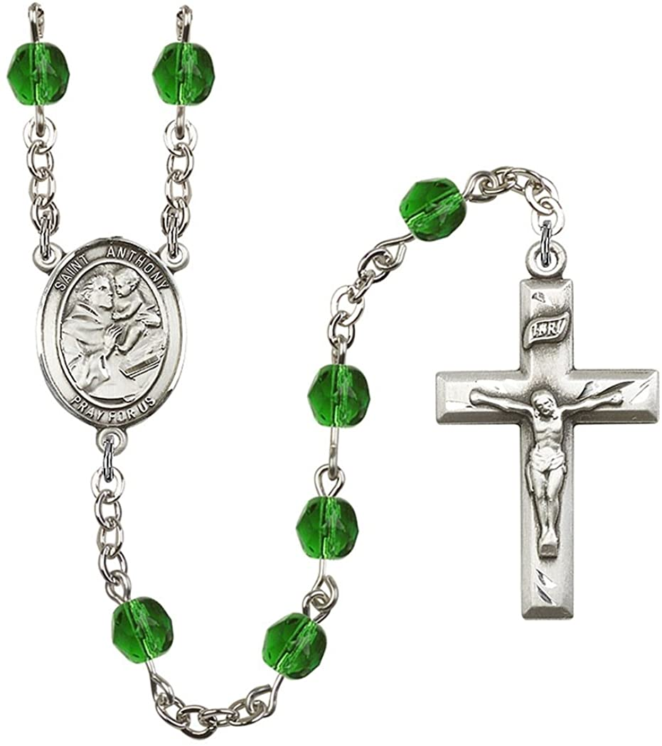 May Birth Month Prayer Bead Rosary with Patron Saint Centerpiece, 19 Inch