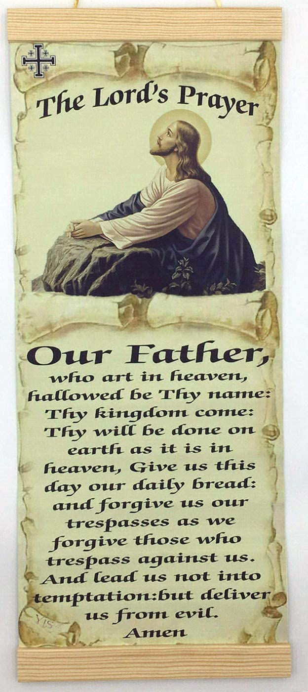 """The Lord's Prayer Catholic Our Father Prayer wall hanging canvas print 8""""X18"""" with Jerusalem Cross symbol spiritual art work religious home decor Inspirational military home decoration Quotes Christian wall decor Catholic Bible verses"""