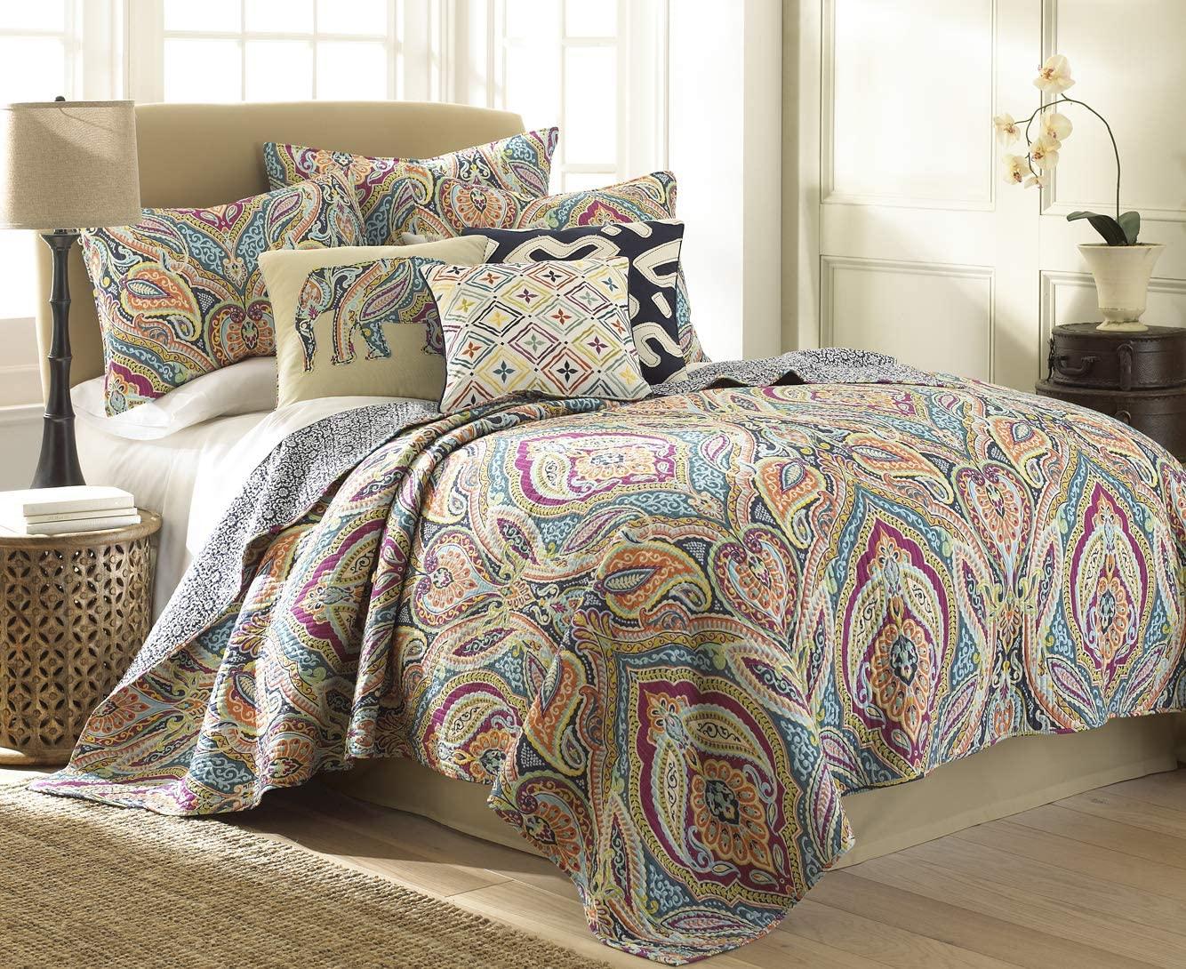 Levtex Home Magnolia Navy Full/Qeen Set, Paisley, 100% Cotton, Navi, Multi
