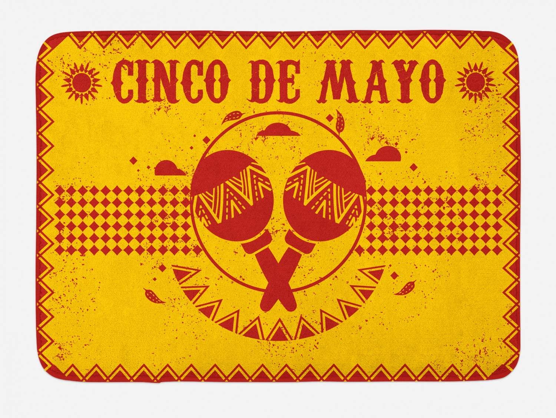 Lunarable Cinco de Mayo Bath Mat, Folkloric Mexican Illustration with Maracas Grunge Ornaments, Plush Bathroom Decor Mat with Non Slip Backing, 29.5