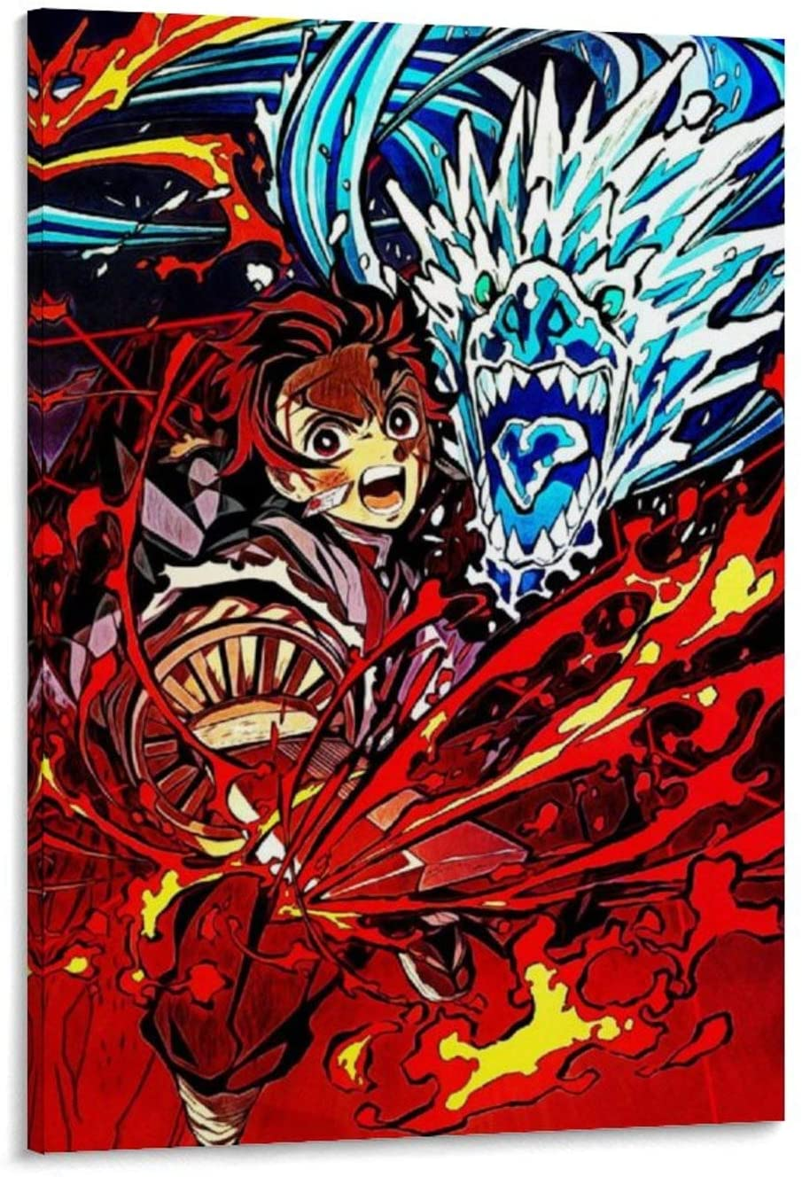 yuanchen Anime Demon Slayer Tanjiro Poster Decorative Painting Canvas Wall Art Living Room Posters Bedroom Painting 12x18inch(30x45cm)