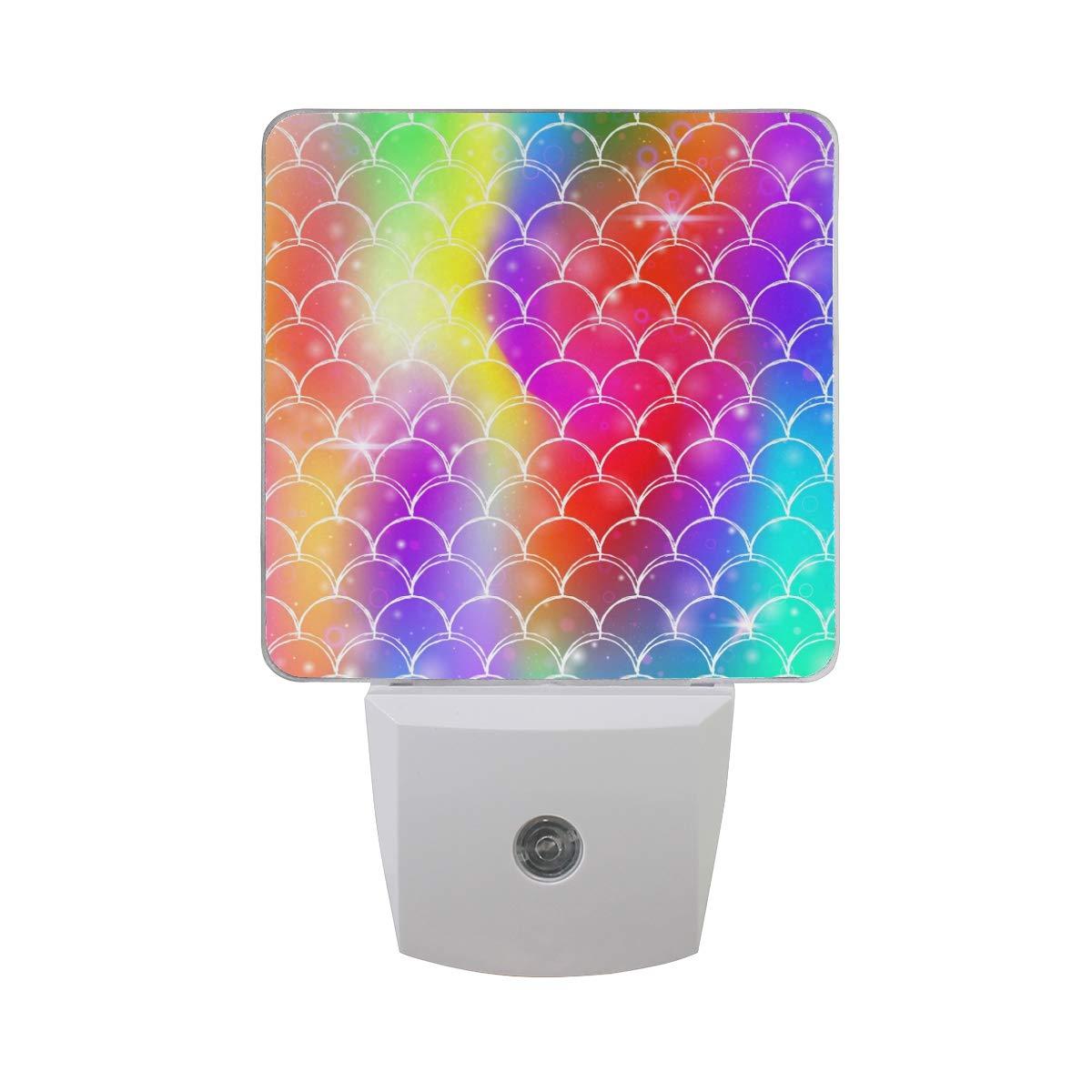 Linomo LED Night Light Lamp Colorful Mermaid Scale Auto Senor Nightlight Plug in for Kids Adults Boys Girls Bedroom Decor, 2 Pack