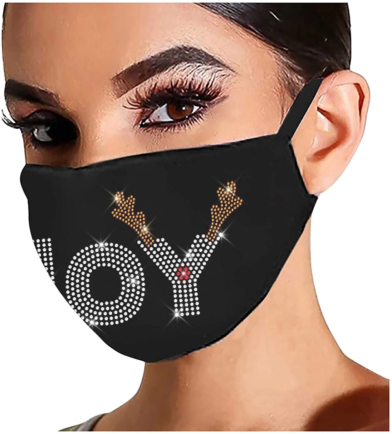 1PC Novel Reusable Outdoor Drill Windproof Hair Hanging Ear Black Mask,Christmas Face Mask for Adult Reusable Washable Flash Diamond Rhinestone Breathable Fashion Cotton Face Balaclavas