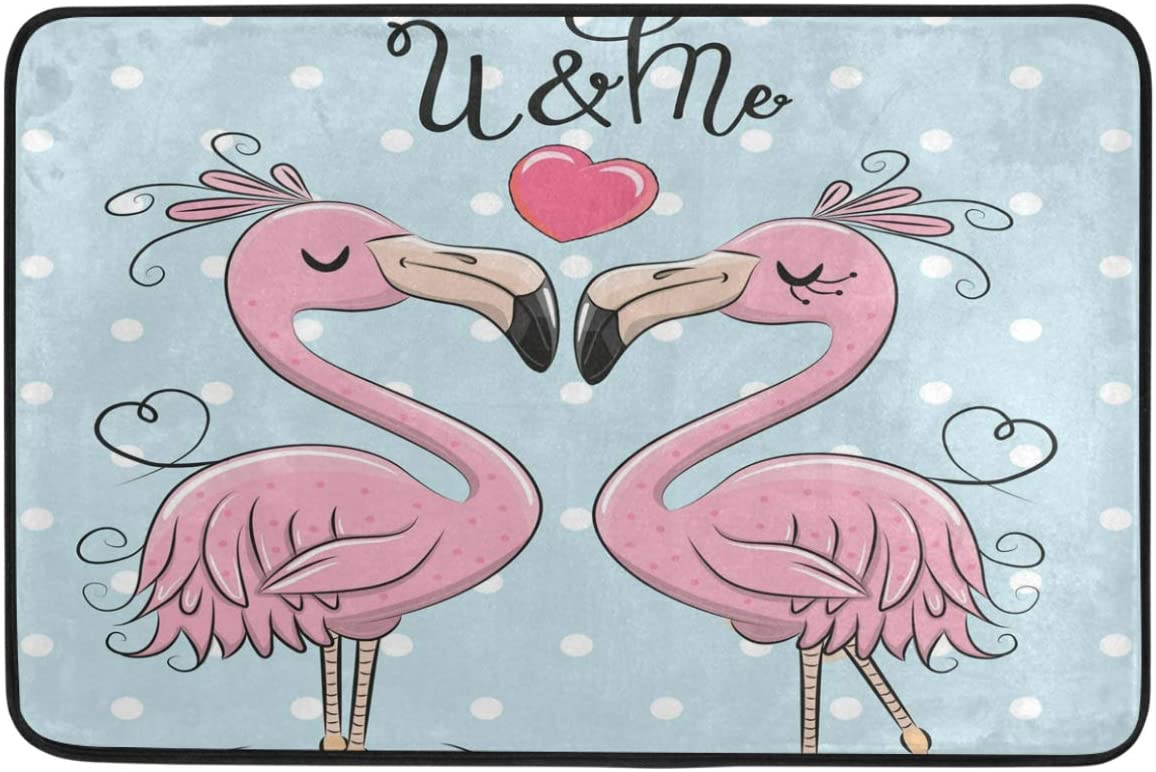 Happy Valentine's Day Decorative Doormat Home Decor Cute Pink Flamingos Kiss Love Hearts and Me Welcome Indoor Outdoor Entrance Bathroom Floor Mats Non Slip Washable Hoilday Pet Food Mat, 24x16 inch