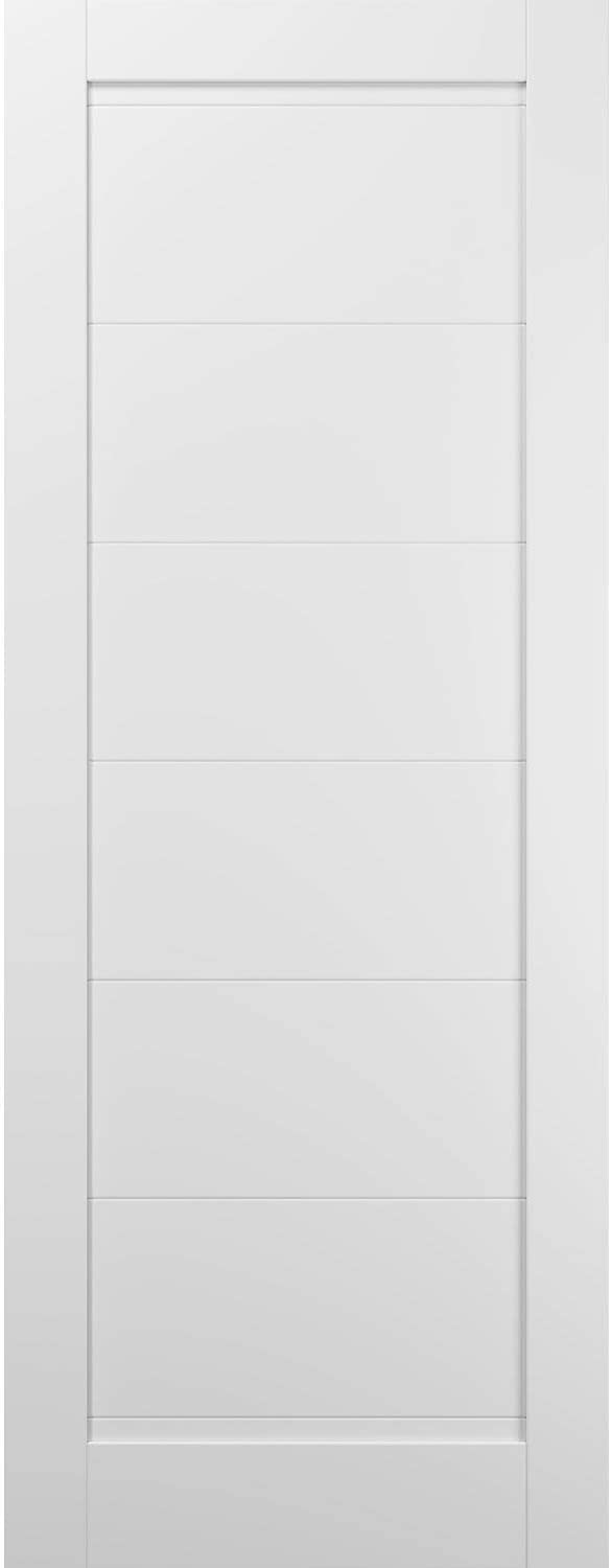 Slab Barn Door Panel 36 x 84 | Quadro 4115 White Silk | Sturdy Finished Wooden Modern Doors | Pocket Closet Sliding