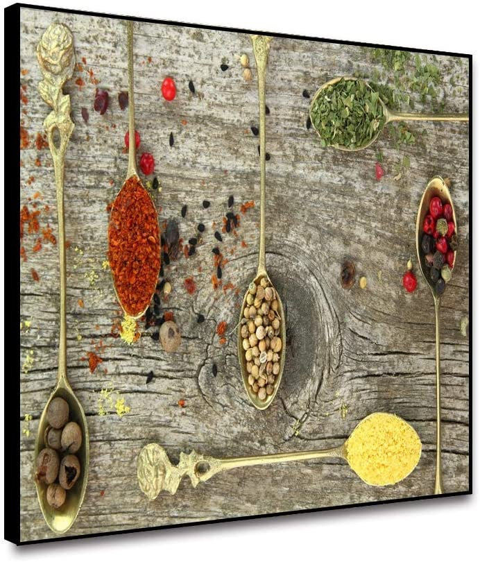 ARRMT Framed Canvas Wall Art Prints Seasoning Photography Delicious Food Spoon Spice Wooden Board Background Modern Home Decoration Kitchen Living Room Bedroom Wall Artwork Decor Poster 10x8inch