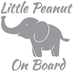 Little Peanut On Board Elephant NOK Decal Vinyl Sticker |Cars Trucks Vans Walls Laptop|Gray|5.5 x 5.5 in|NOK916