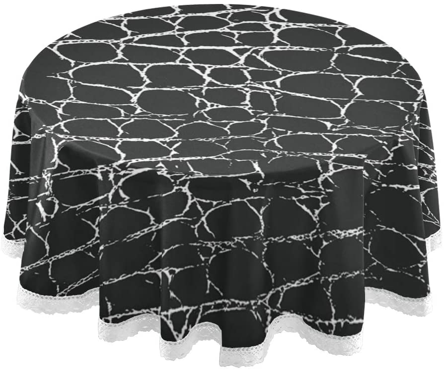 SKYDA Animal Skin Texture Round Tablecloth - 60 Inch - Table Cloth for Table in Washable Polyester - Great for Buffet Table, Parties, Holiday Dinner, Wedding & More(13)