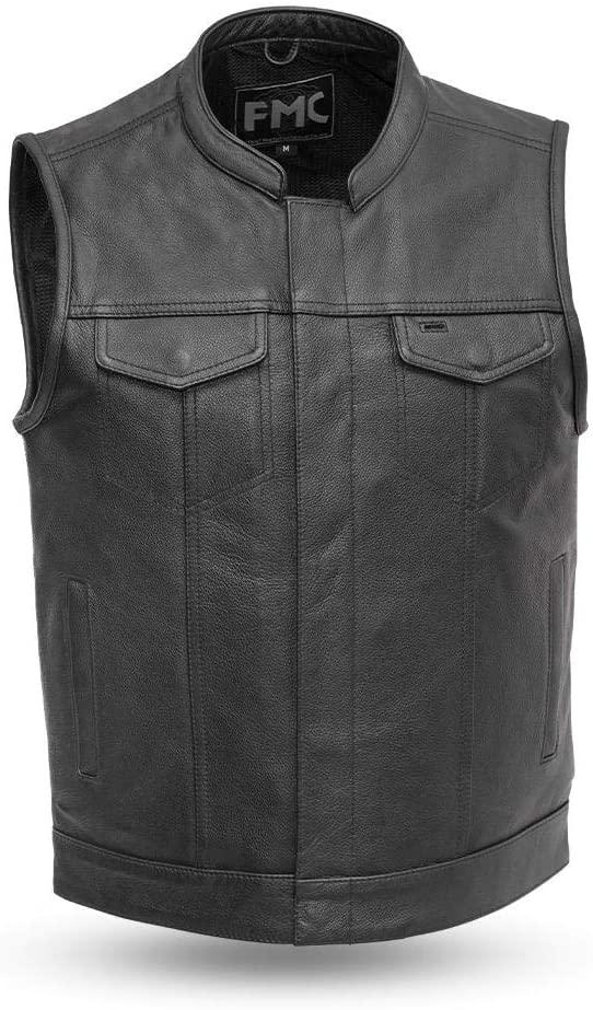 Blaster - Men's Motorcycle Leather Vest (BLACK, M)