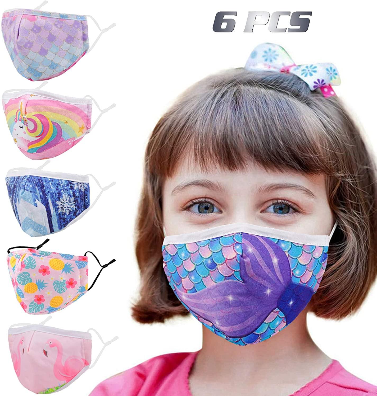 Enjoy Holiday 1981 6Pcs Kids Washable Reusable Face Mask Adjustable Ear Loops for Girl Boy Children Toddle Gift