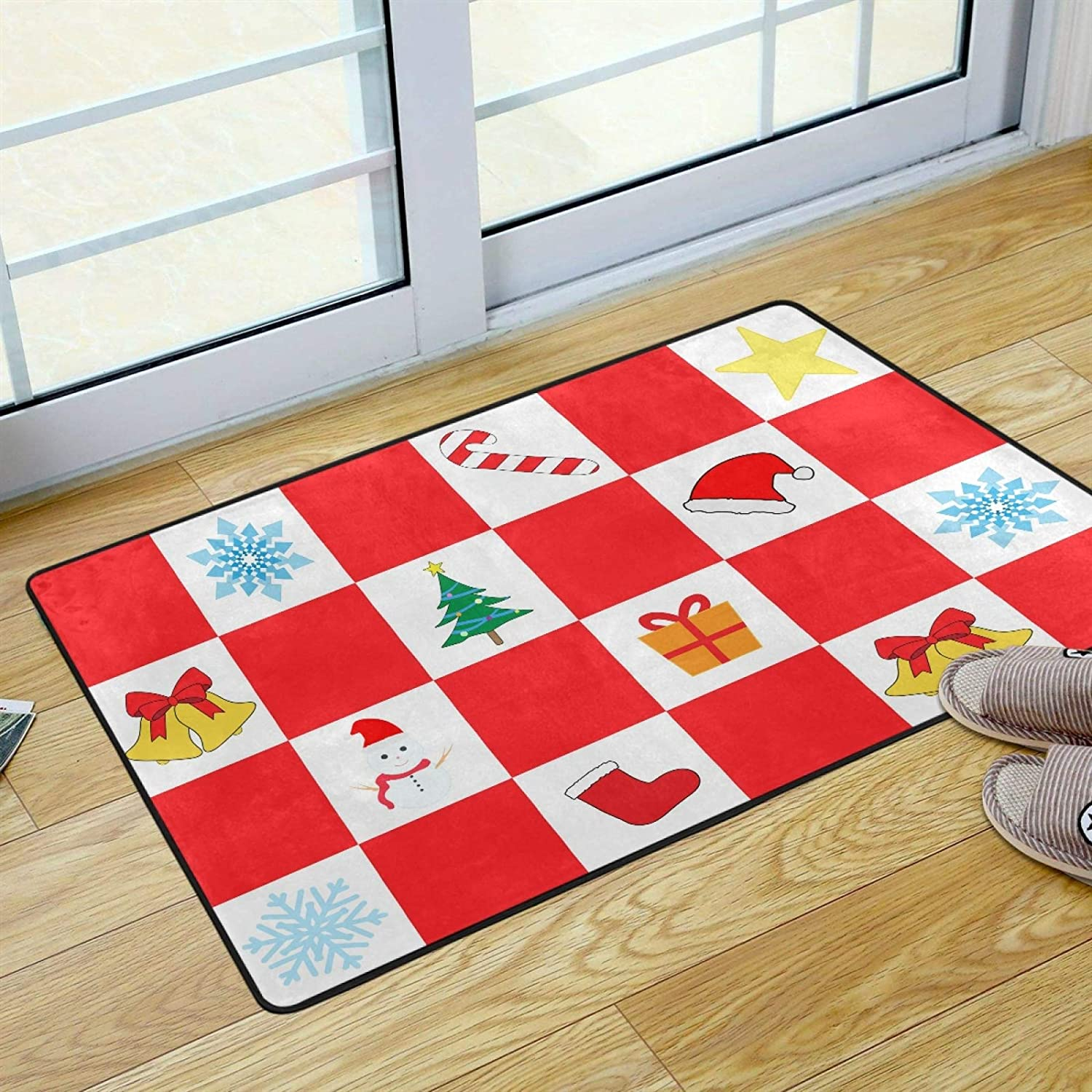 UMIRIKO Area Rug for Bathroom Merry Christmas Trees Snowflake Red Buffalo Check Plaid Indoor Door Mat Washable Rug for Bedroom Kitchen Porch Laundry Living Room Carpet 36 x 24 in 2021060