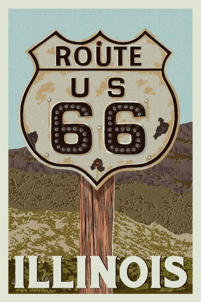 Route 66, Illinois - Letterpress (12x18 Art Print, Wall Decor Travel Poster)