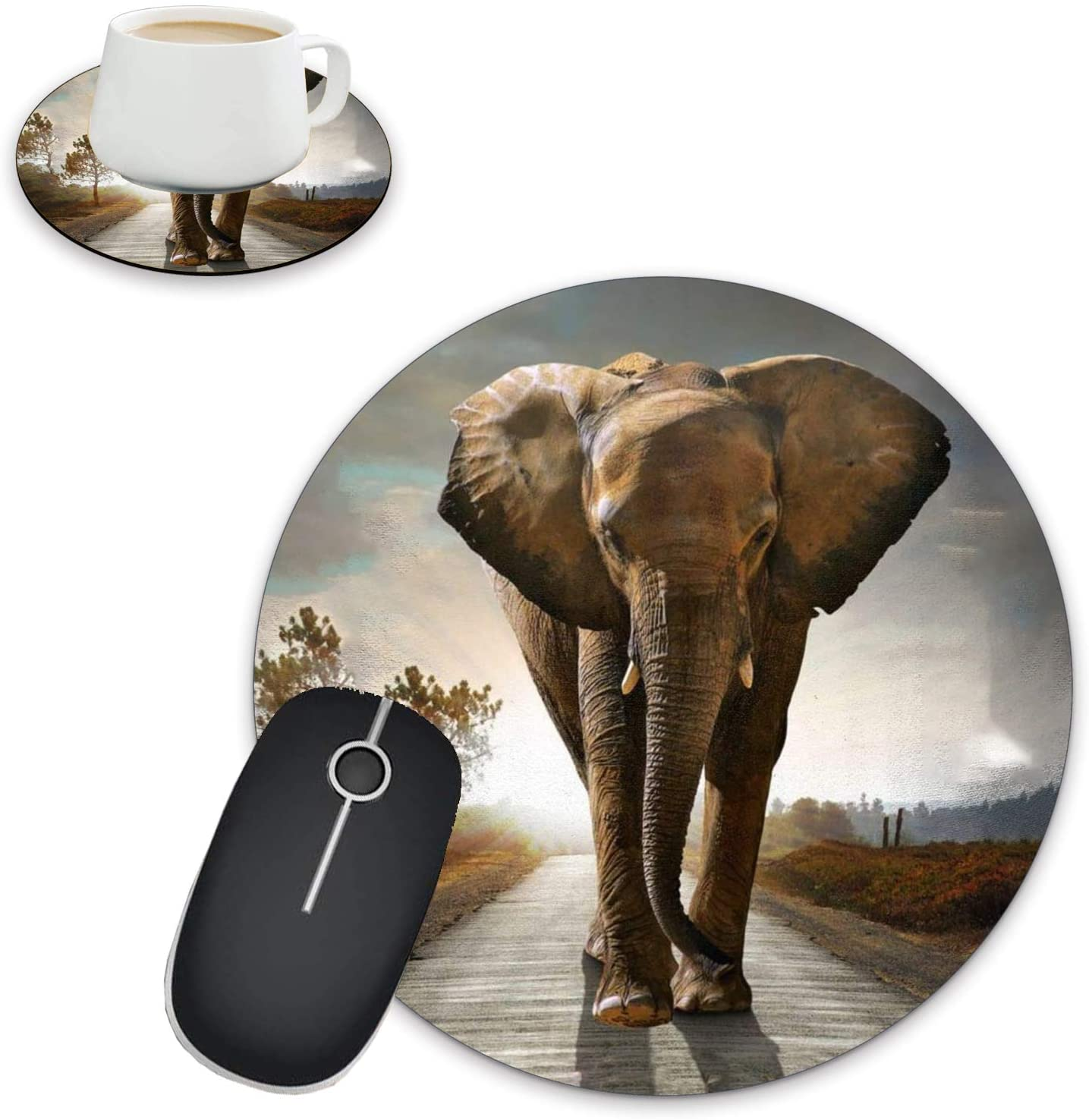 Round Mouse Pad and Coasters, Sunset Elephant Pattern Design Round Non-Slip Rubber Mouse Pad, Custom Mouse Pad for Home Office Business Games