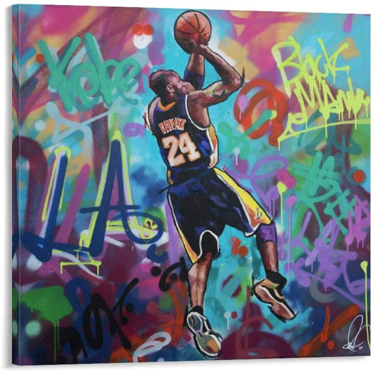 caomei Kobe Bryant Poster Decorative Painting Canvas Wall Art Living Room Posters Bedroom Painting 24x24inch(60x60cm)
