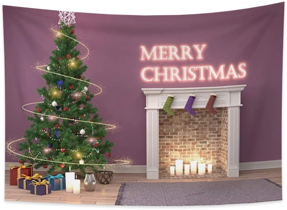 Yongto Merry Christmas Tapestry Wall Hanging Xmas Tree Christmas Elements Candle Christmas Stockings Brick Fireplace Wall Tapestry for Bedroom Living Room Dorm Decor 70.9x63.0 inches