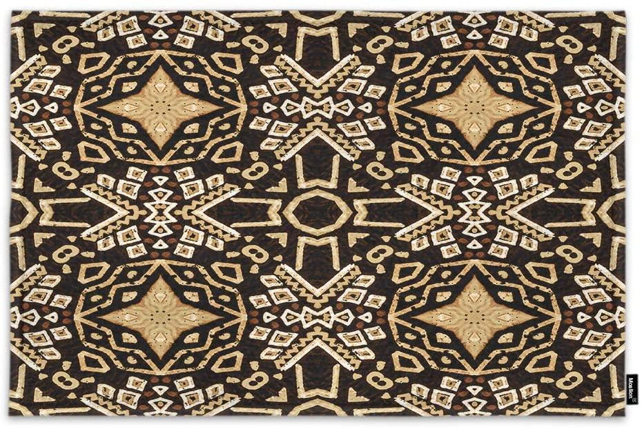 Moslion Door Mat Ikat Tribal Art Vintage Boho Bohemian Mexican Aztec Pattern Ethnic Modern Chic Non Slip Funny Doormat for Outdoor Indoor Decor Entry Rug Kitchen Bedroom Mat 15.7 x 23.6 Inch