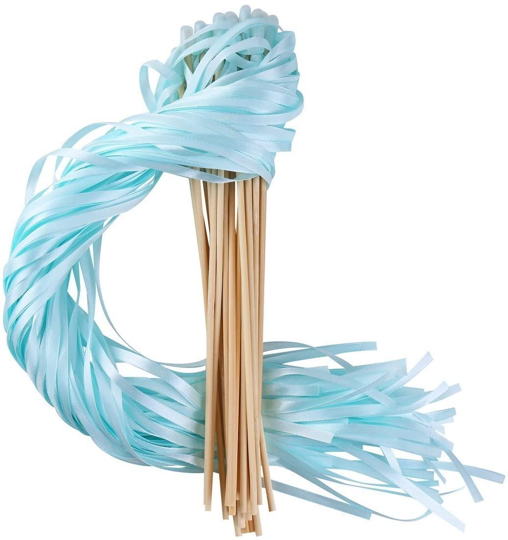 REINDEAR 30 Pcs Wedding Party Ribbons Wand Sticks Streamers (Pastel Cyan)