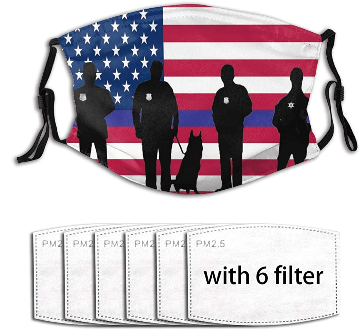 Thin Red Line Face Mask With Filter Pocket, Washable Reusable Face Bandanas Balaclava