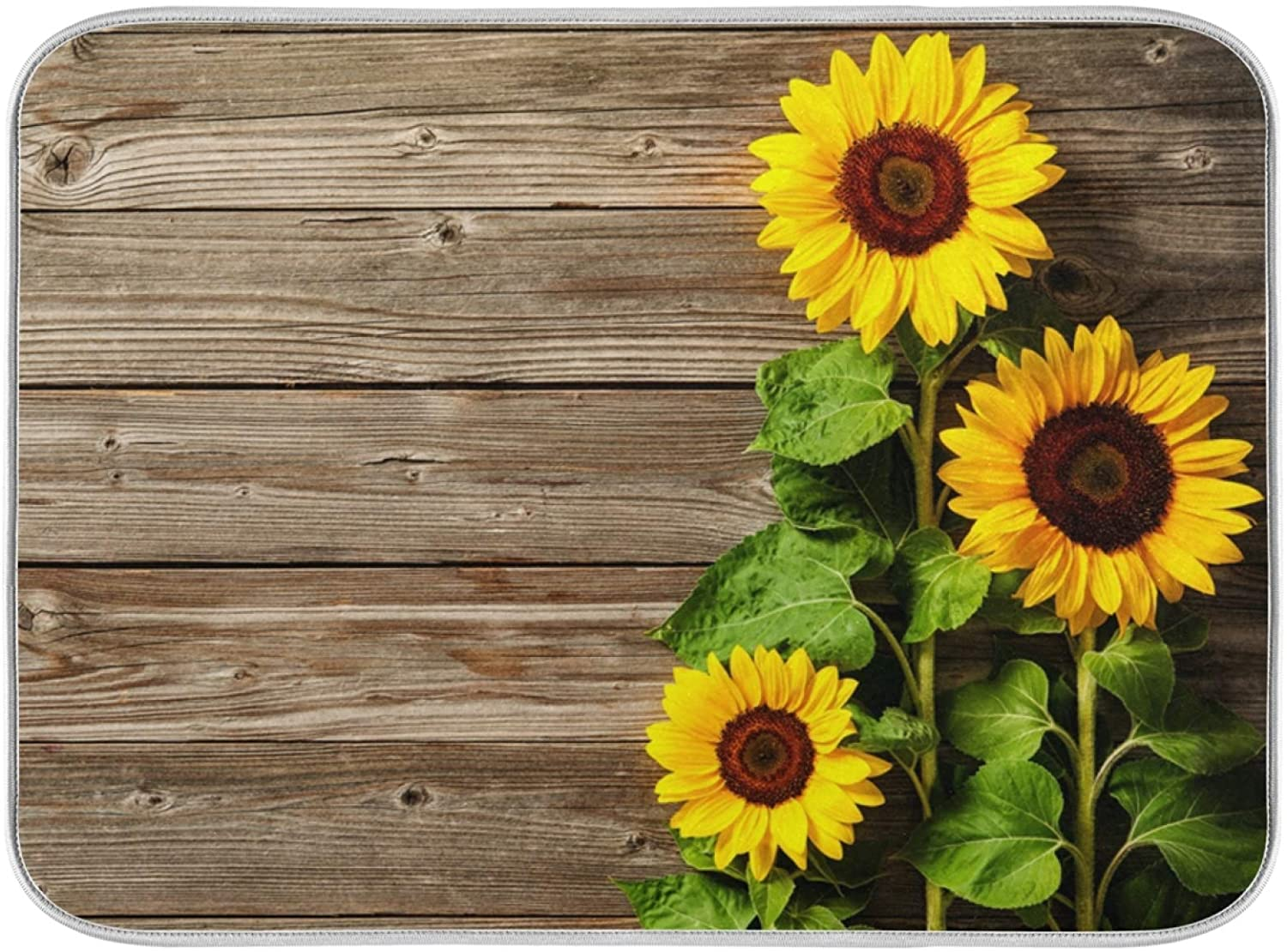Absorbent Dish Drying Mat Sunflowers Wood Board Print Dishes Drainer Protector Pad Pot Holder Pet Mat with Hanging Loop for Kitchen Countertops Sinks Refrigerator 16 x 18 Inch
