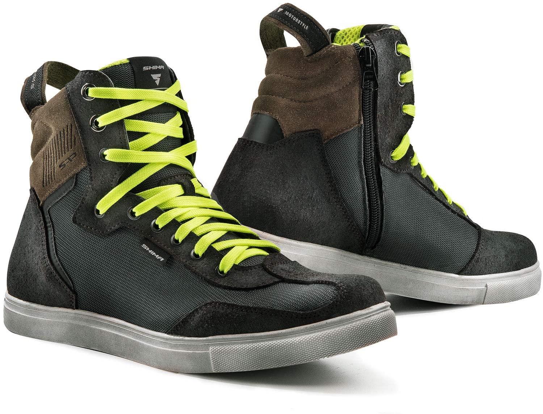 SHIMA REBEL MEN VENTED, Street Leather Ventilated Italian Motorcycle Sneakers (Grey, 44)