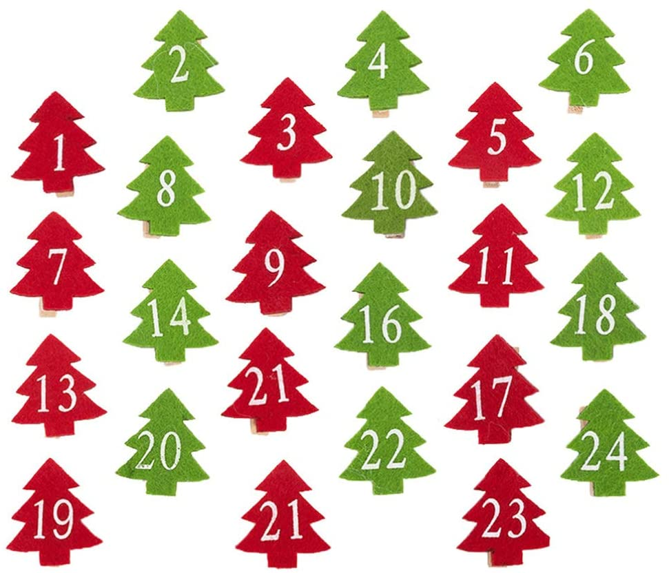 PRETYZOOM 24pcs Christmas Tree Wood Clothespins Number DIY Photo Pegs for Photo Wall Favors Art Craft Decor Holiday Party Ornaments