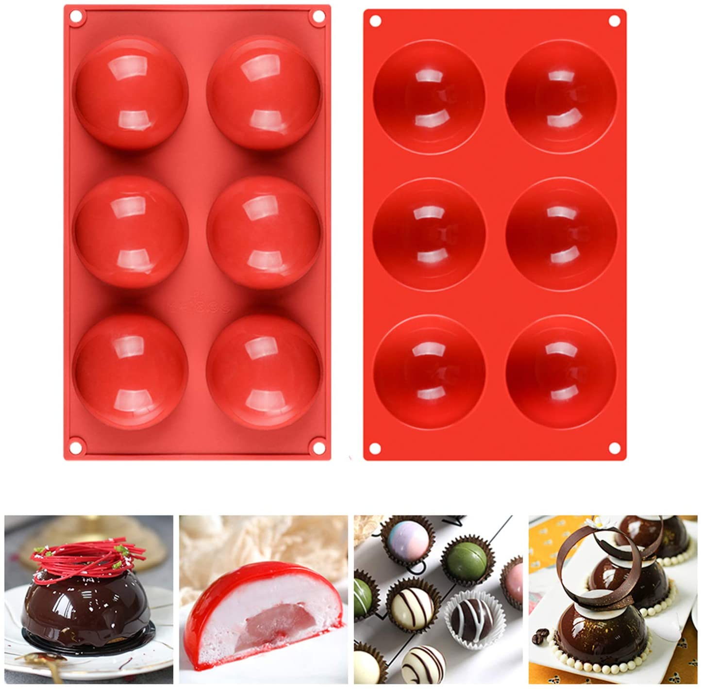6 Holes Silicone Molds for Chocolate, Jelly, Cake, Pudding. Soap Molds for Soap Making, Set of 2, Round Shape Dia: 3 inches