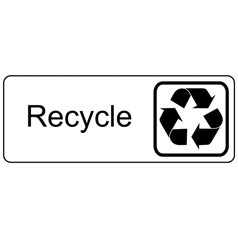 Recycle Engraved Sign with Symbol, for Recycling/Trash/Conserve, 8x3 in. Black on White Plastic by ComplianceSigns