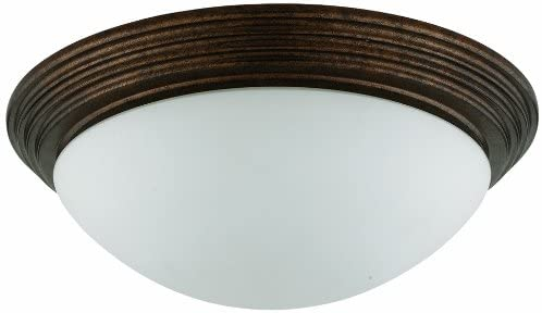 Cal Lighting LA-181L-RU Flush Mount with Frosted Glass Shades, Rust Finish
