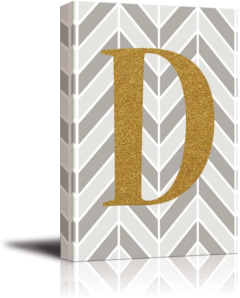wall26 - The Letter D in Gold Leaf Effect on Geometric Background - Modern Hip Young Art Art - Canvas Art Home Art - 32x48 inches