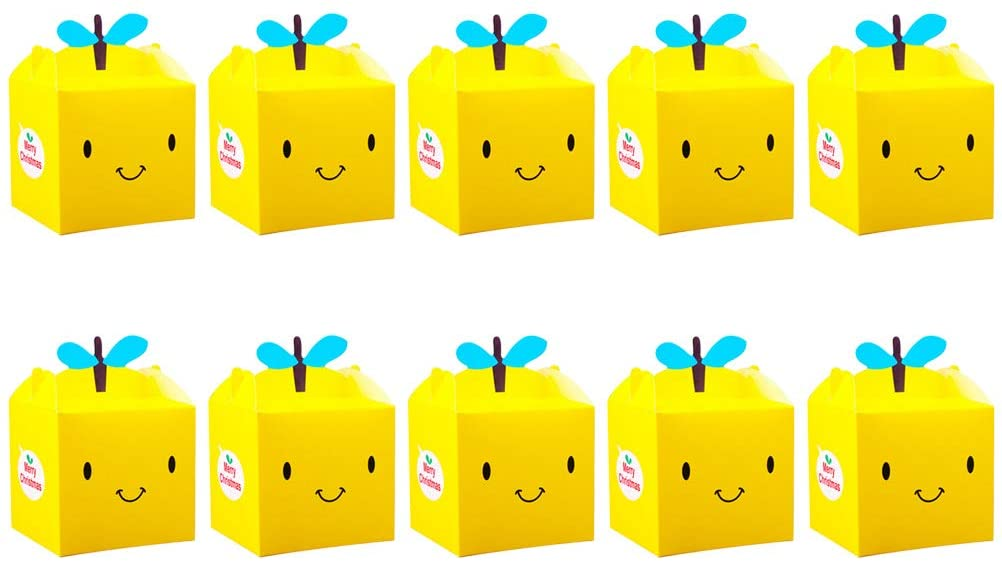 Holibanna Apple Boxes Paper Candy Treats Cubes Party Favor Christmas Eve Supplies 10 Pcs (Yellow)