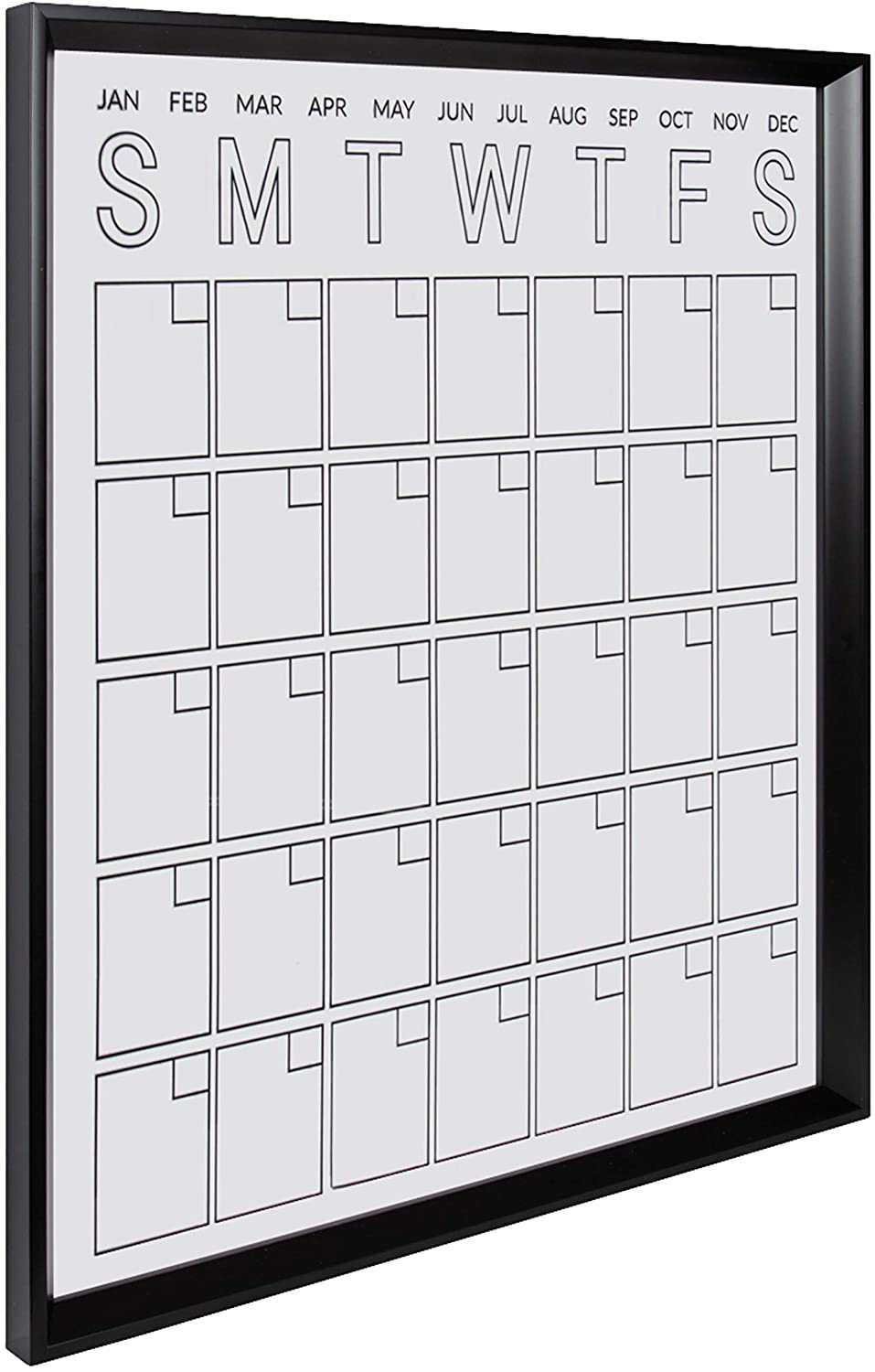 Kate and Laurel Calter Modern Acrylic Dry Erase Wall Calendar, 25.5 x 31.5, Black, Chic Transparent Whiteboard Calendar for Wall