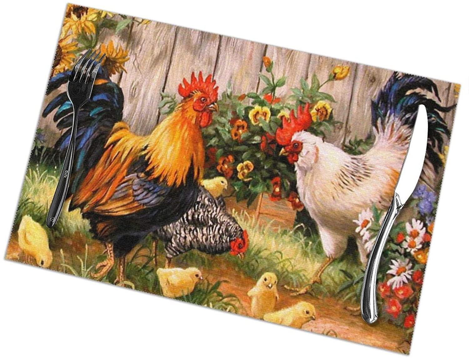 NiYoung Dinner Table Mats Set of 6 Placemats Washable Woven Heat Resistant Easy to Clean Non-Slip Placemats - Chicken Rooster Garden Flowers Painting