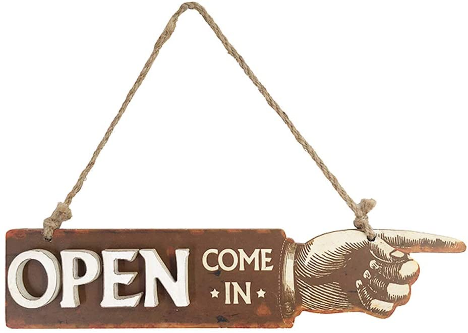 Open Come in Sign with Rope for Business, Store, Shop,Vintage Farmhouse Wood Open Sign - 15.3 Long