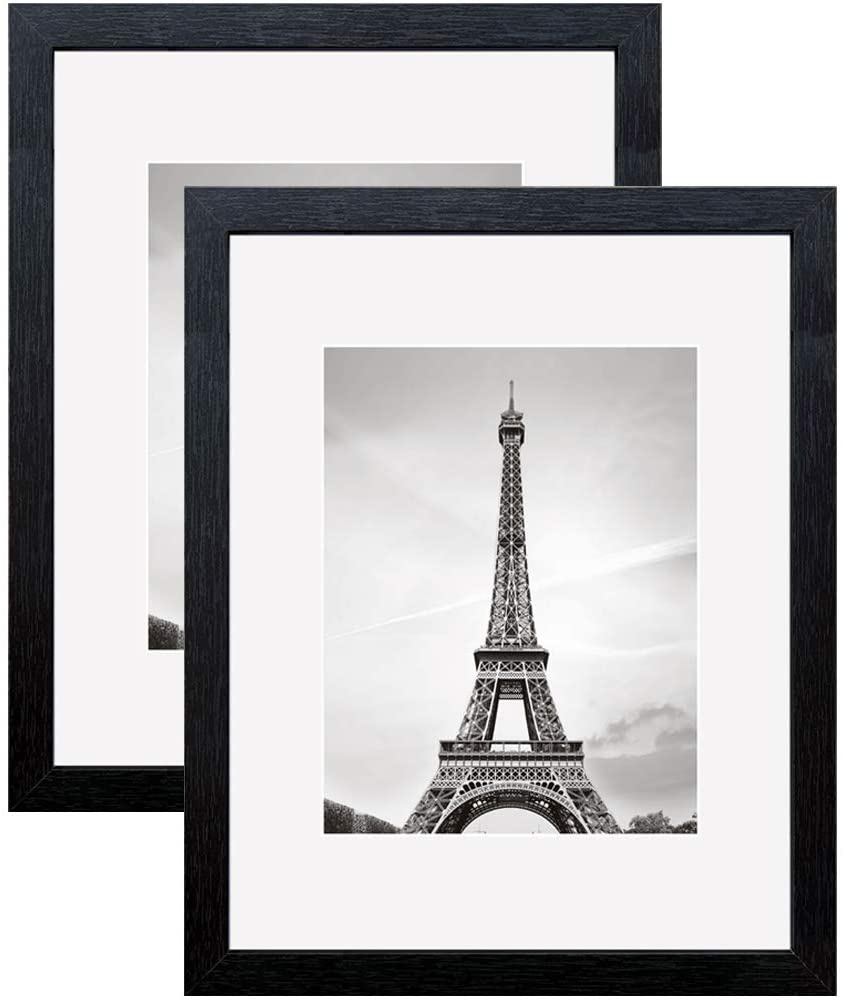 Meetart Black Poster Picture Frames 16x20 inch Pack of 2 Piece in Plastic Glass MDF Wood Frame, Display Pictures 16x20 and 11x14 inch, Wall Hanger Vertical and Horizontal.