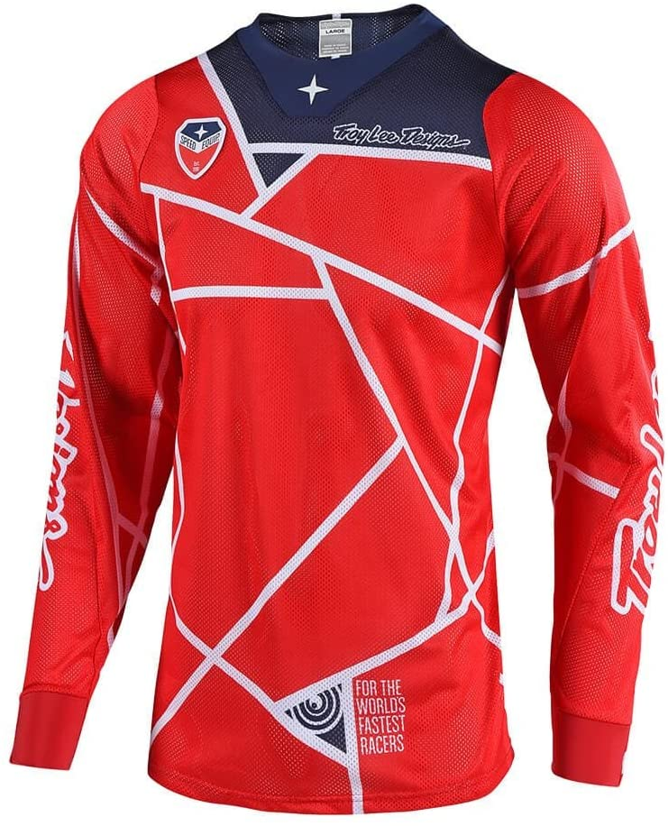 Troy Lee Designs Men's Off-Road Motocross Motorcycle SE Air Metric Jersey (Red/Navy, XX-Large)