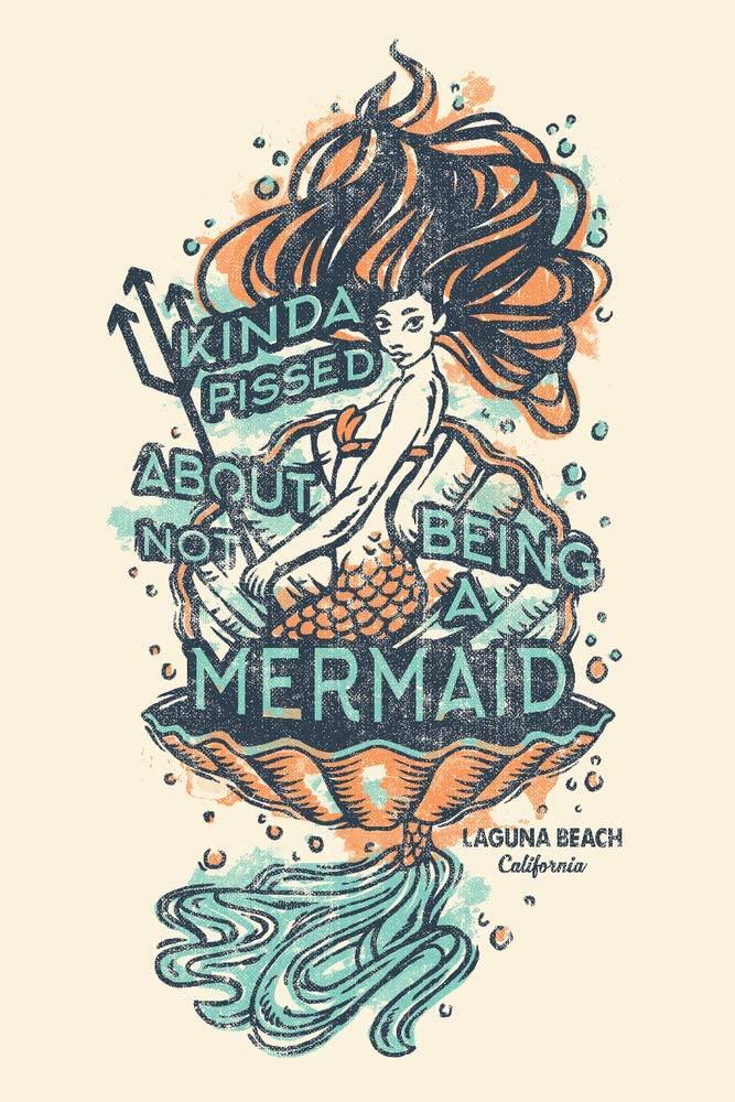 Laguna Beach, California - Not being a Mermaid - Tattoo Design (9x12 Art Print, Wall Decor Travel Poster)