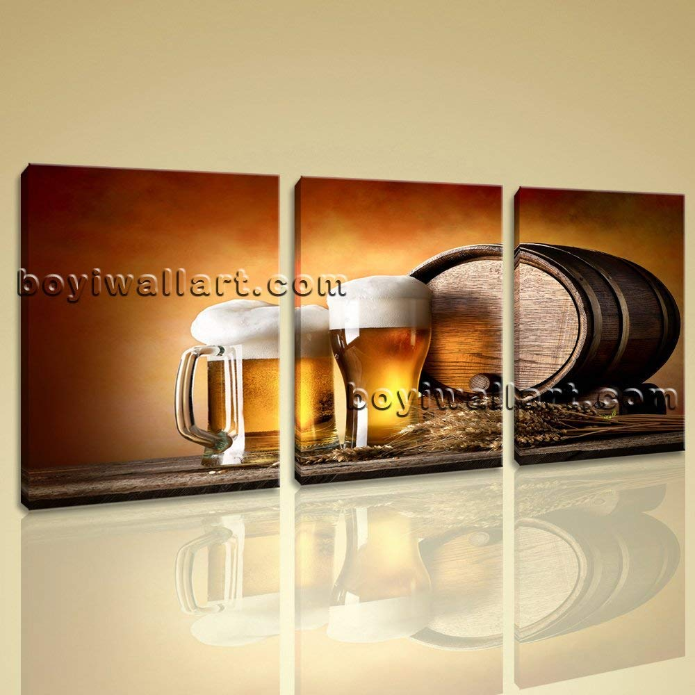 Large Canvas Prints Food And Beverage Beer Contemporary Home Decor Wall Art, Large Beer Wall Art, Living Room, Indian Tan
