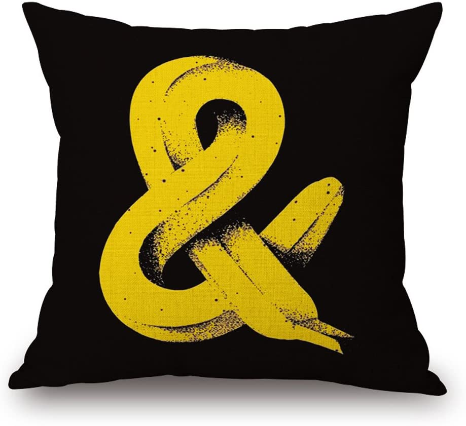 Happy Cool Cotton Linen Square Originality Decorative Throw Pillow Cushion Cover with Insert 18