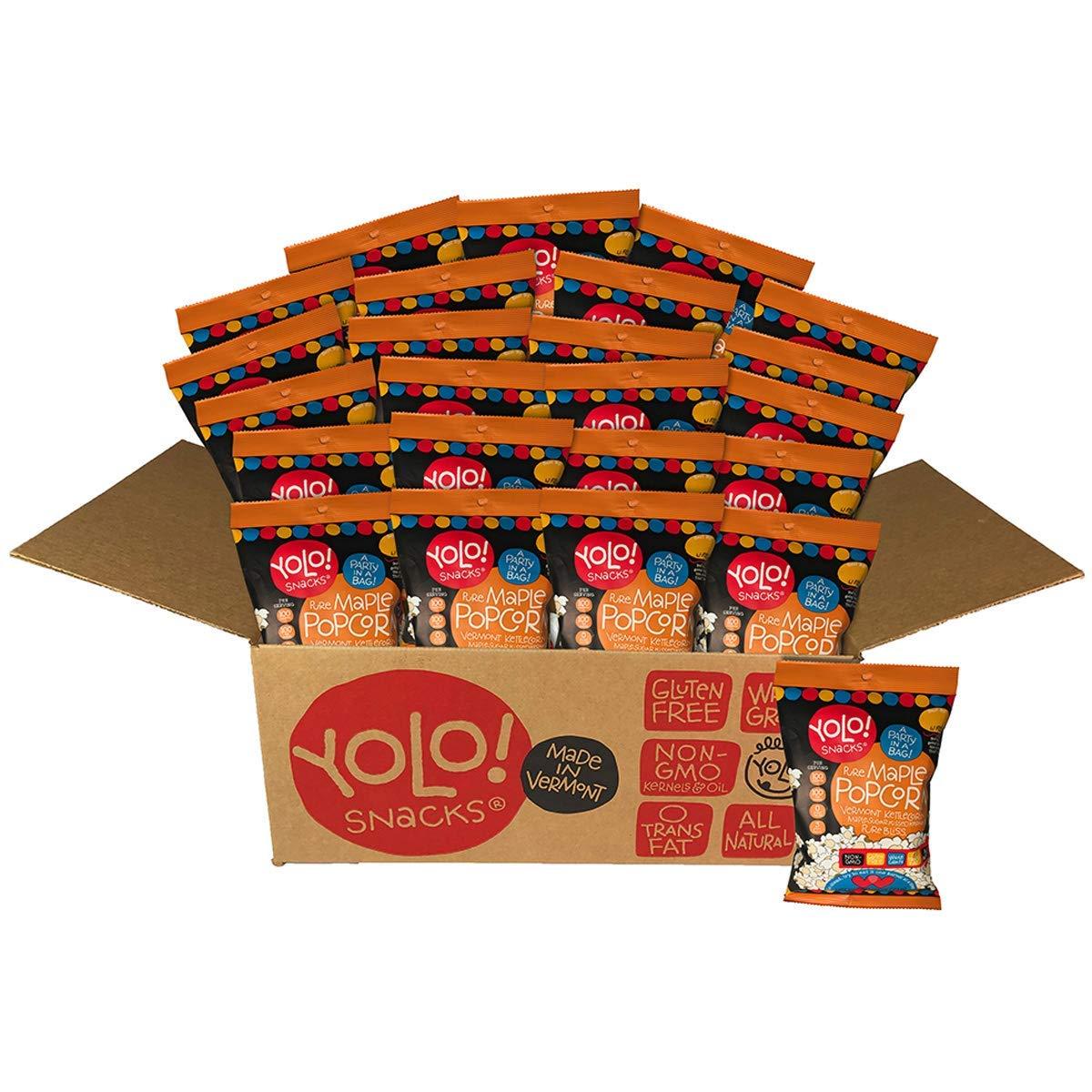 YOLO! Snacks – Gourmet Maple Flavor Individual Bag Popped Popcorn - 21 Grams - 24 Count Case