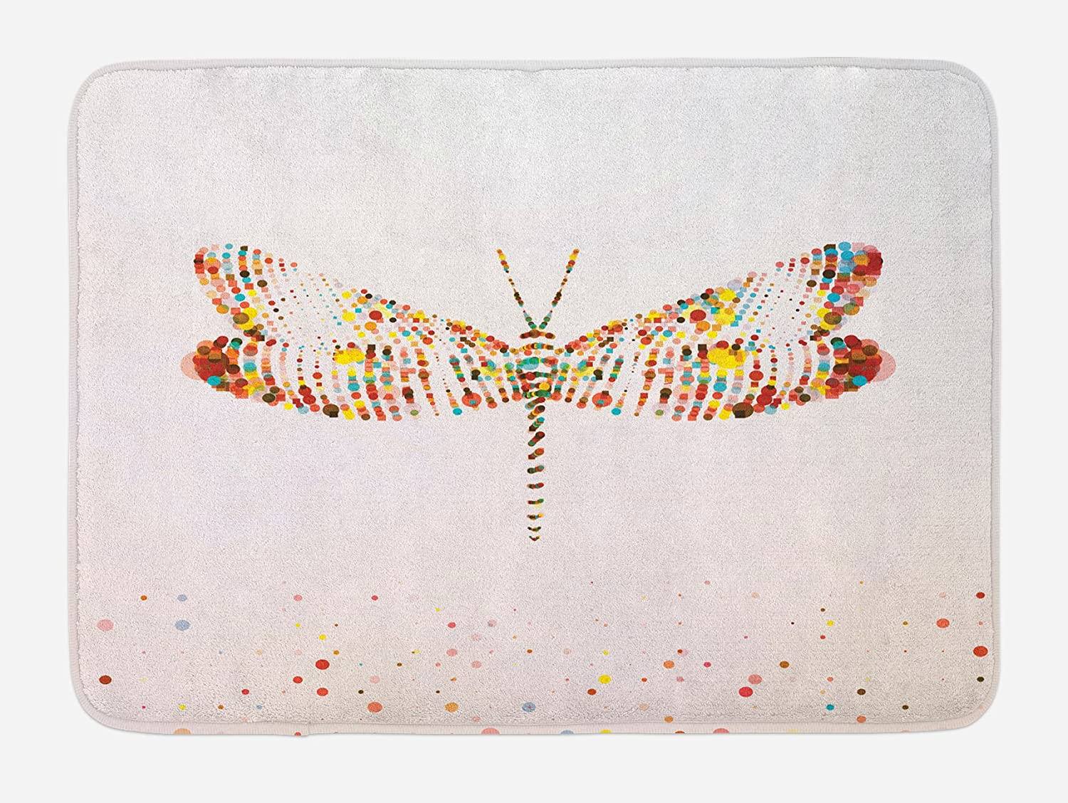 Ambesonne Dragonfly Bath Mat, Majestic Dragonfly Shape with Colorful Tiny Dot Effects Imaginary Modern Design, Plush Bathroom Decor Mat with Non Slip Backing, 29.5